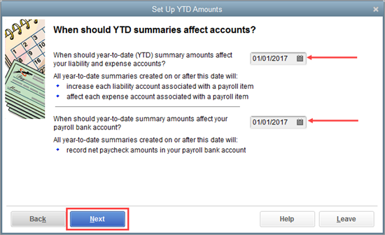 When should YTD summarizes affect accounts window in QuickBooks Payroll setup