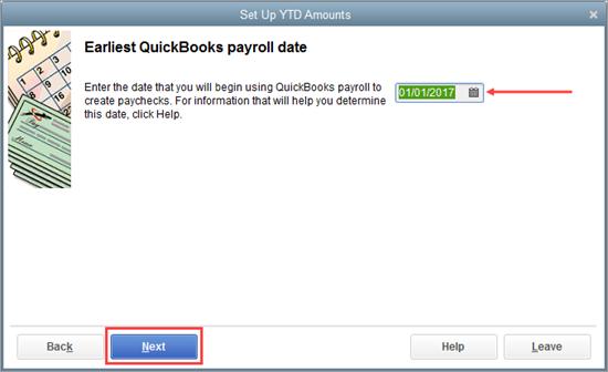 Earliest QuickBooks payroll date window