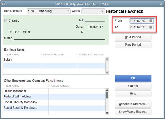 YTD adjustment for employee earnings in QuickBooks Payroll setup
