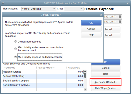 Affect liability expense and bank accounts in QuickBooks Payroll setup