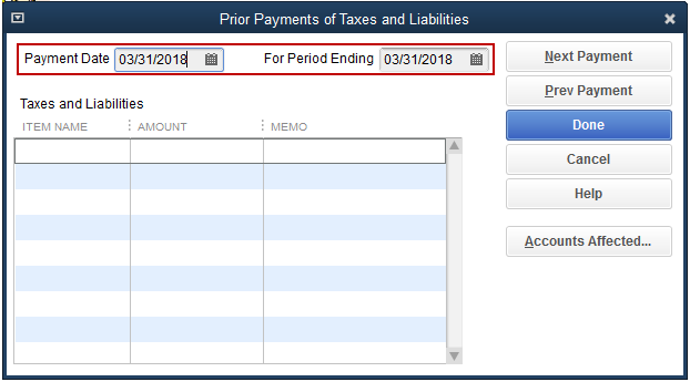 Payment Date and For Period Ending Pay Date fields are seleted