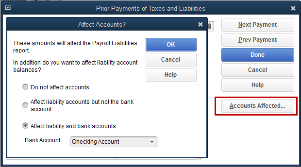 Accounts Affected button is selected
