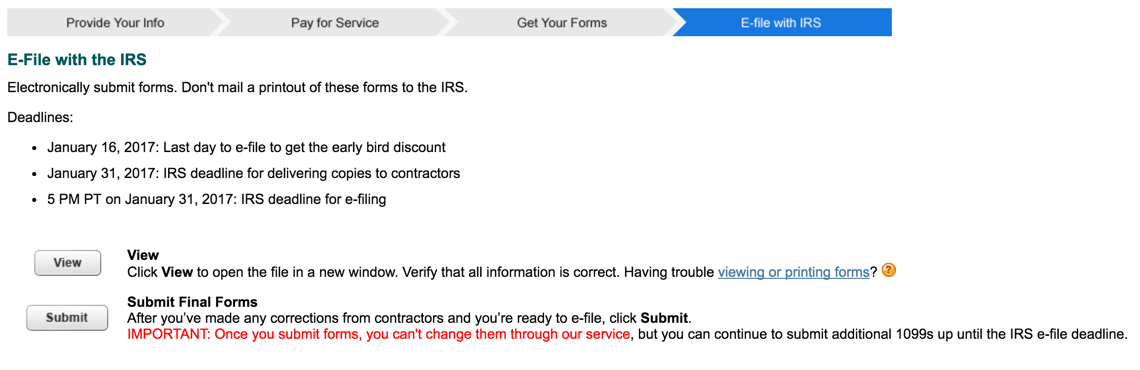 Intuit 1099 E-File submit e-file forms to IRS page