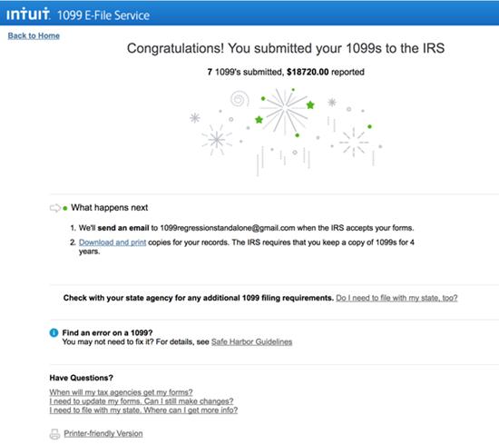 Intuit 1099 E-File service confirmation page