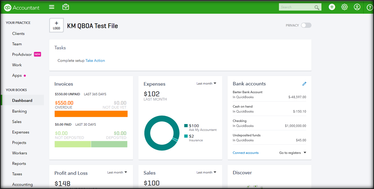 Example of QuickBooks Online Accountant Dashboard