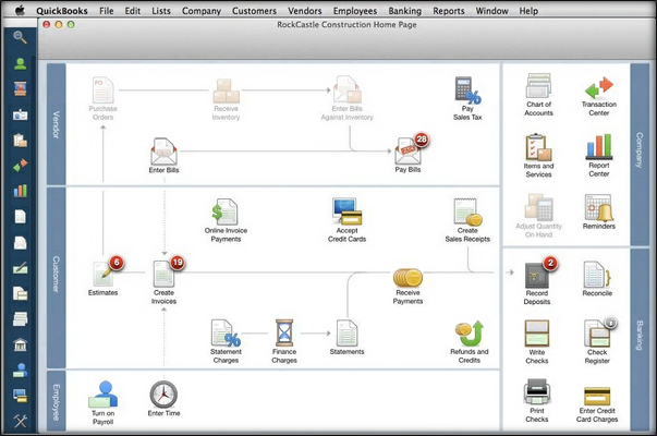 QuickBooks Pro for Mac example screen