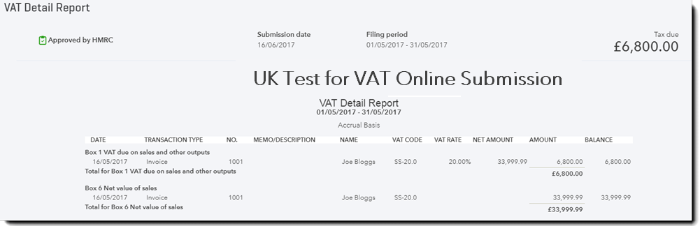 VAT detail report