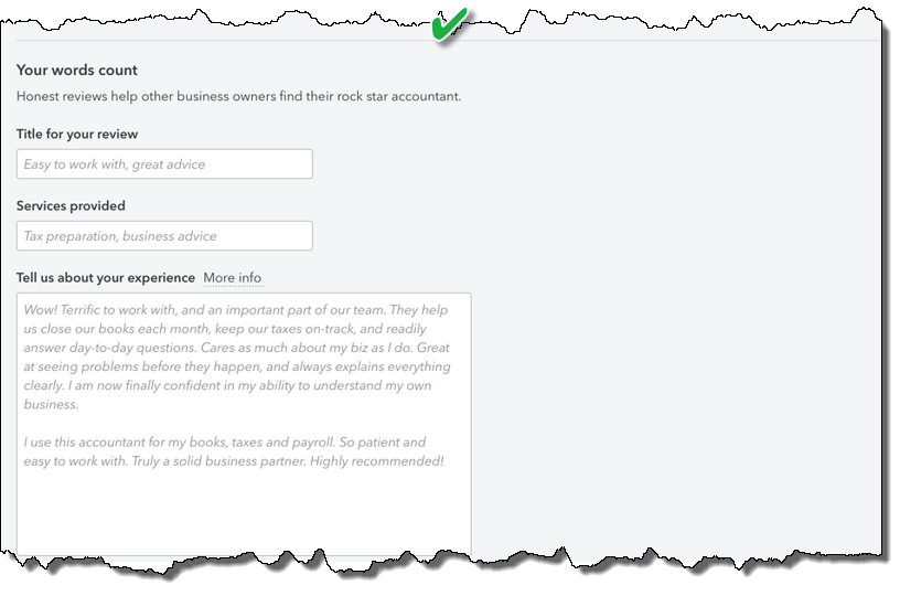 New Find-a-ProAdvisor Review - Review fields