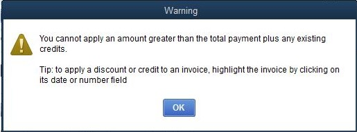 warning you cannot apply an amount greater than t quickbooks
