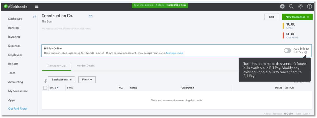 add bills for vendor in QuickBooks Online Bill Pay