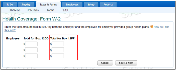 enter health coverage reimbursement amount on W2 forms in QuickBooks