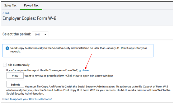 report health coverage on W2 form in QuickBooks