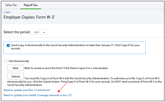 report health covers on W2 form in QuickBooks Payroll Tax Center