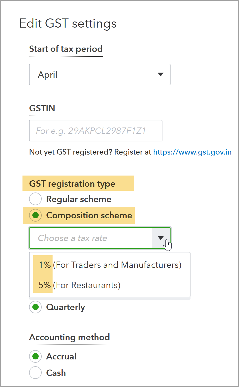 Screenshot of the GST Settings dialog for Composition Scheme users.