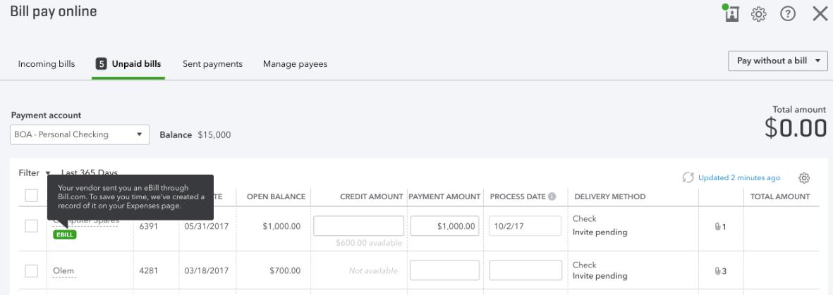 Understanding invoices vs  eBills in Online Bill P    - QuickBooks