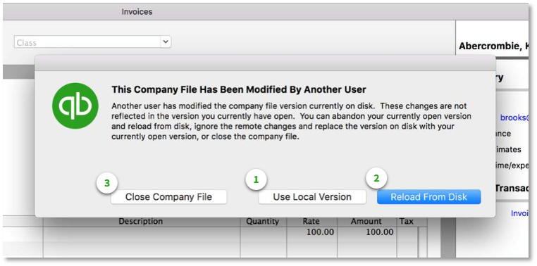 This Company File Has Been Modified By Another User