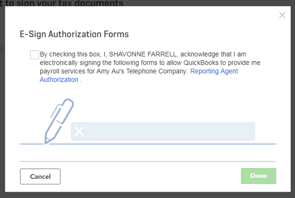 Signed E-Sign authorization forms in QuickBooks