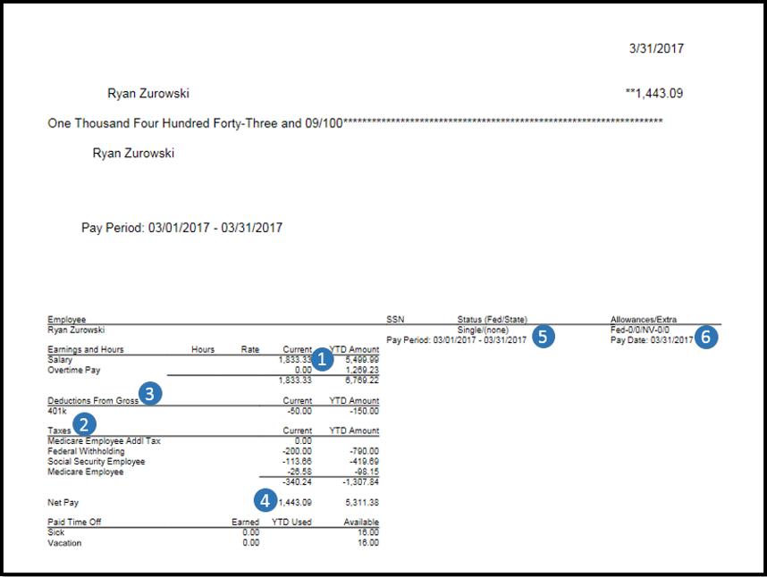 Breakdown of paycheck QuickBooks Desktop Payroll