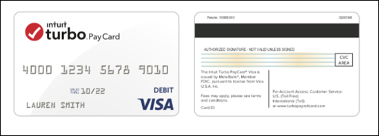Front and back sample of Intuit Turbo Pay Prepaid Visa Card
