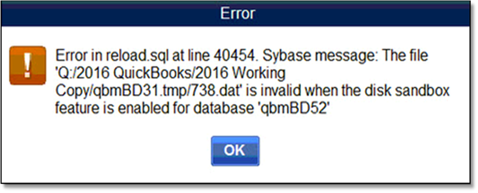 Resolve error in reload sql at line #####  Sybase     - QuickBooks