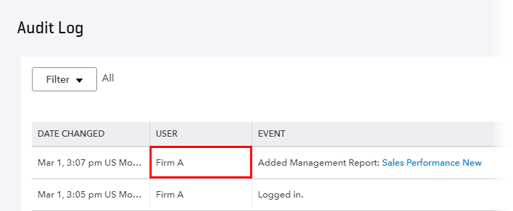 Audit Log client visibility in QuickBooks Online