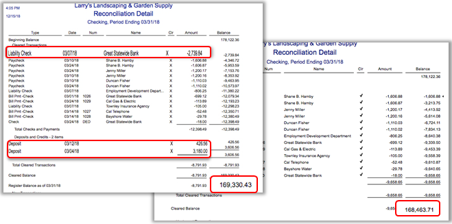 quickbooks bank reconciliation report sample