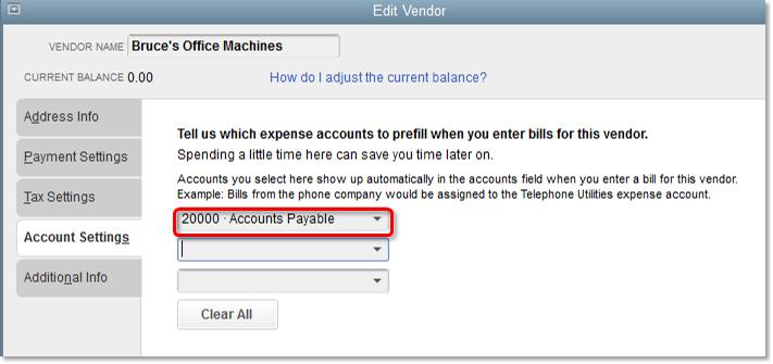 default vendor account