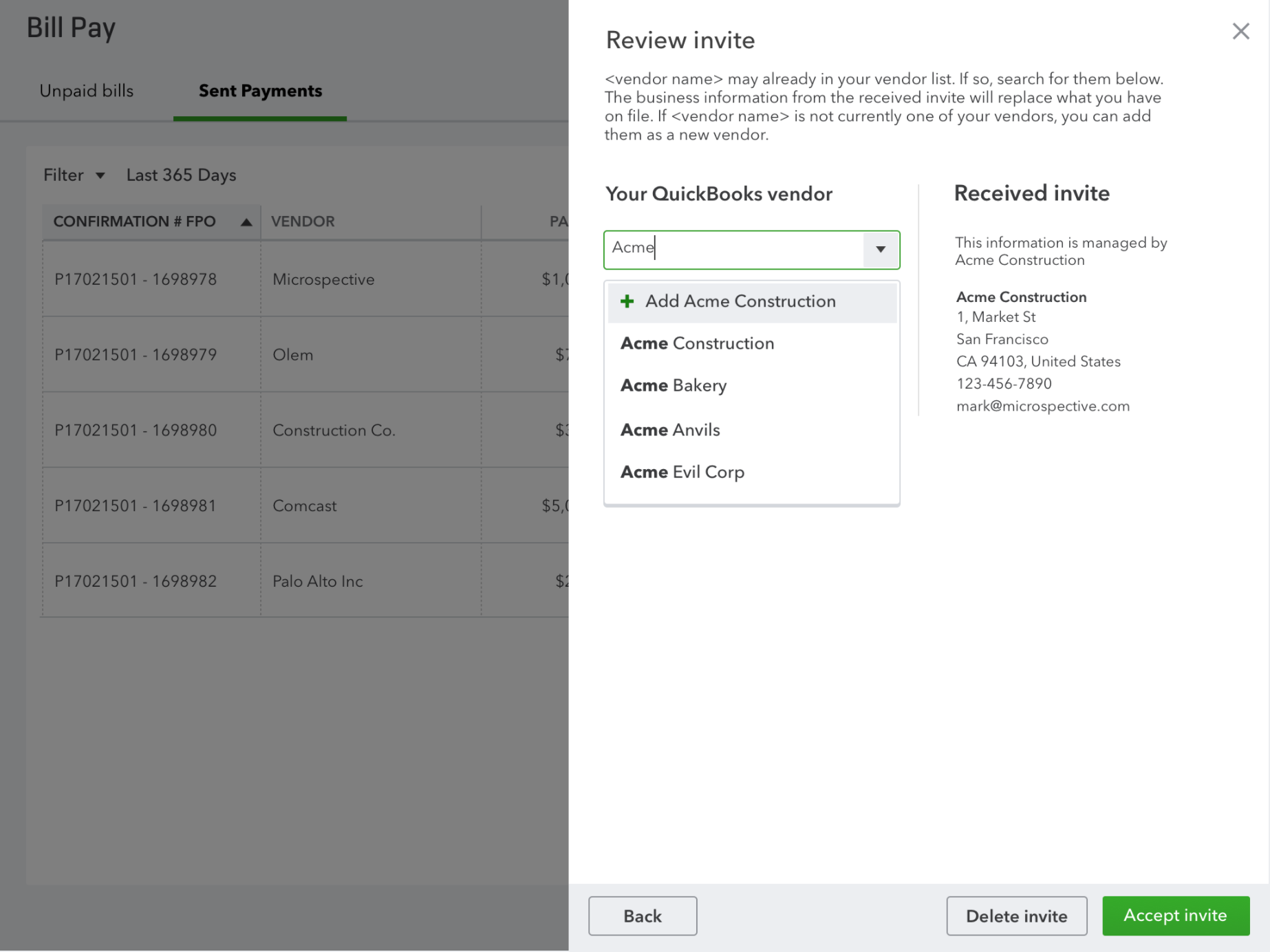 Review vendor invites in QuickBooks Online