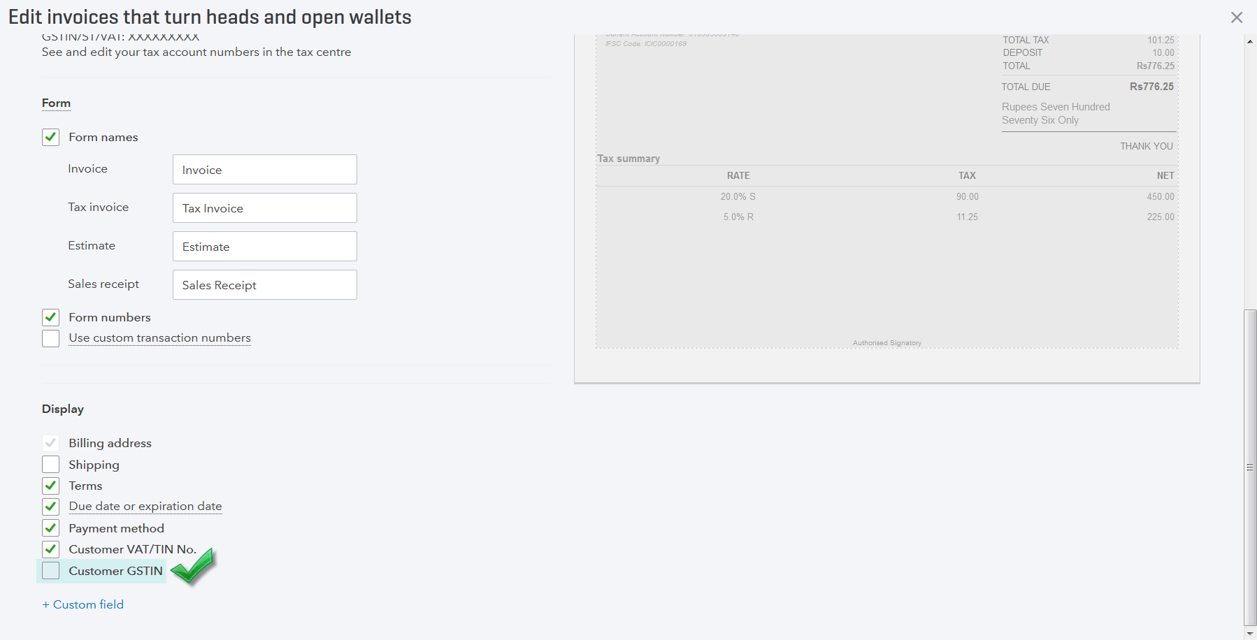 Screenshot of Customer GSTIN being enabled from Custom Form Styles