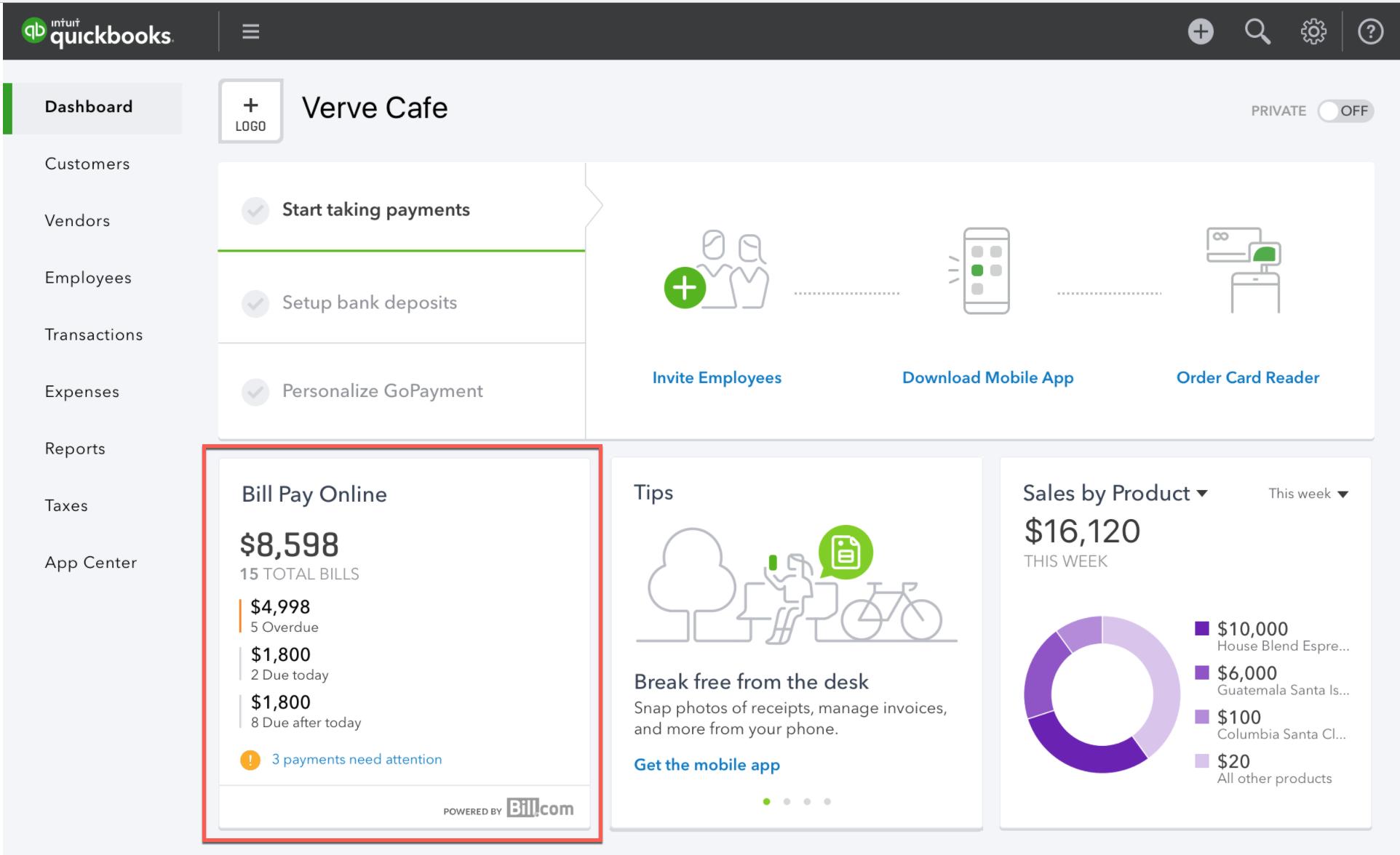 Pay bill online widget in QuickBooks Online dashboard