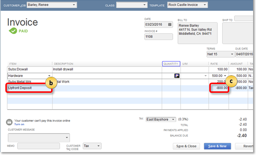 Add upfront deposit as a line item on an invoice in QuickBooks Desktop